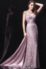 A-Line Jewel Neck Sweep Train Elastic Satin Prom Dresses with Lace