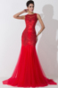 Sheath/Column Jewel Neck Tulle Floor Length Evening Dress with  Embroidery