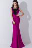 Sheath/Column Jewel Neck Floor Length Chiffon Evening Dresses with Bow