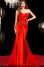 Sheath/Column Strapless Floor Length Charmuse Evening Dress with Beads