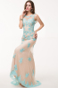 Sheath/Column Jewel Neck Tulle Floor Length Prom Dress with Appliques