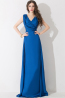 A-Line/Princess V-Neck Sweep Train Elastic Satin Evening Dresses With Applique