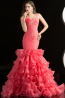 Sheath/Column One-Shoulder Floor Length Tulle Quinceanera Dress with Ruffles