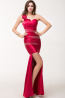 Sheath/Column One-Shoulder Floor Length Elastic Satin Evening Dress with Flower