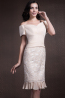 Sheath/Column Off Shoulder Knee Length Elastic Satin Mother of the Bride Dresses With Applique
