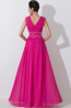A-Line/Princess V-Neck Floor Length Chiffon Prom Dress with Pleats