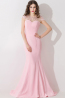 Trumpet/Mermaid Jewel Sweep Train  Elastic Satin Prom Dresses With Applique