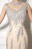 Sheath/Column High Neck Floor Length Tulle Evening Dresses with Sequins