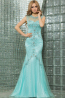 Sheath/Column Jewel Neck Sweep Train Tulle Prom Dresses with Diamond