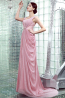 A-Line Spaghetti Sweep Train Chiffon Prom Dresses with Pleats