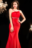 Sheath/Column Scoop Neck Sweep Train Elastic Satin Prom Dress with Beads