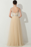 A-Line/Princess Scoop Neckline Floor Length Tulle Prom Dress with Beads