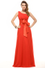 A-Line/Princess One-Shoulder Floor Length Chiffon Prom Dress with Bow