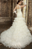 Trumpet/Mermaid One-Shoulder Sweep Train Organza Luxury Wedding Dress with Beadings