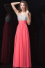 A-Line/Princess V-Neck Floor Length Chiffon Prom Dresses with Diamond