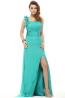 A-Line/Pricess One-Shoulder Floor Length Chiffon Prom Dress with Flowers
