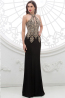Sheath/Column Jewel Neck Floor Length Jersey Evening Dress with  Embroidery