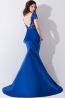 Trumpet/Mermaid Jewel Sweep Train Elastic Satin Evening Dresses With Lace