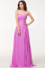 A-Line Strapless Floor Length Chiffon Prom Dress with Beadings