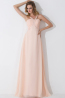 A-Line/Princess Spaghetti Straps Floor Length Chiffon Birdesmaid Dress with Beads