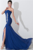 Sheath/Column Strapless Floor Length Chiffon Formal Dress with Front Slit