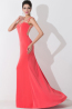 A-Line/Princess Jewel Sweep Train Elastic Satin Prom Dresses With Beads