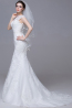 Sheath/Column Jewel Neck Sweep Train Organza Wedding Dress with Appliques