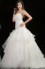 Sheath/Column Strapless Floor Length Organza Wedding Dress with Ruffles