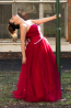 A-Line Strapless Floor Length Tulle Prom Dress with Beaded
