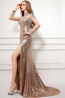 Sheath/Column High Neck Sweep Train Sequined Evening Dresses with Side Split