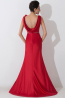Sheath/Column Scoop Neck Sweep Train Elastic Satin Evening Dress with Beads