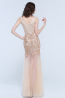 Sheath/Column V-Neck Floor Length Tulle Evening Dresses with Applique