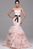 Sheath/Column Strapless Sweep Train Tulle Quinceanera Dress with Ruffles