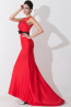 Sheath/Column Jewel Sweep Train Elastic Satin Prom Dresses With Lace