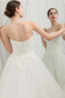 Ball Gown Strapless Floor Length Organza Wedding Dress with Ruffles