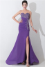 Sheath/Column Strapless Floor-Length Chiffon Evening Dress with Front Slit