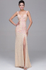 Sheath/Column V-Neck Floor Length Tulle Evening Dress with Front Slit