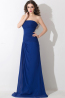 A-Line/Princess Strapless Sweep Train Chiffon Prom Dresses With Pleats