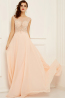 A-Line/Princess Scoop Neckline Floor-Length Chiffon Prom Dress with Beaded