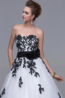 A-Line/Princess Strapless Floor-Length Organza Reception Dress with Appliques