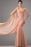 Sheath/Column One-Shoulder Floor Length Chiffon Prom Dress with Flowers