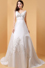 A-Line V-Neck Court Train Elastic Satin Wedding Dresses with Applique