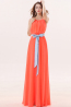 A-Line/Princess Scoop Neckline Floor Length Chiffon Bridesmaid Dress with Sash
