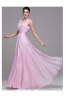 A-Line/Sheath V-Neck Floor Length Chiffon Prom Dresses With Pleats