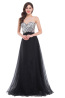 A-Line/Princess Tulle Floor Length Pink and Blue Prom Dresses