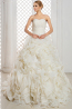 A-Line/Sheath Strapless Court Train Organza Wedding Dresses With Applique