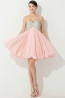 A-Line/Princess Strapless Mini-Length Chiffon Cocktail Dress with Beadings
