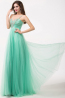 A-Line Sweetheart Floor Length Tulle Prom Dress beaded