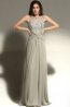 A-Line/Princess Jewel Neck Sweep Train Chiffon Prom Dresses with Applique