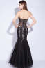 Sheath/Column Strapless Floor Length Tulle Evening Dress with Appliques